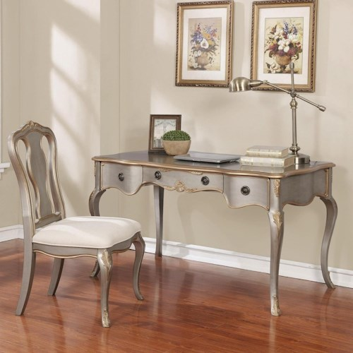 Coaster   Traditional Desk Set with Metallic Finish