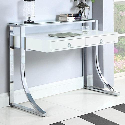 Coaster   Glam Writing Desk with Tempered Glass Shelf