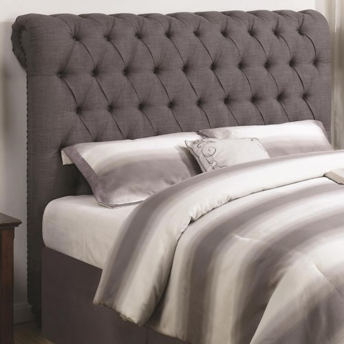 Coaster Devon Full Rolled Headboard in Grey Fabric