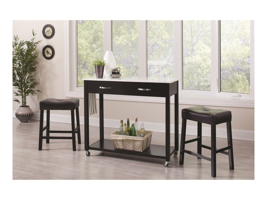 fc7fde644e8be Dinettes 3 Piece Dining Set with Two-Tone Finish by Coaster