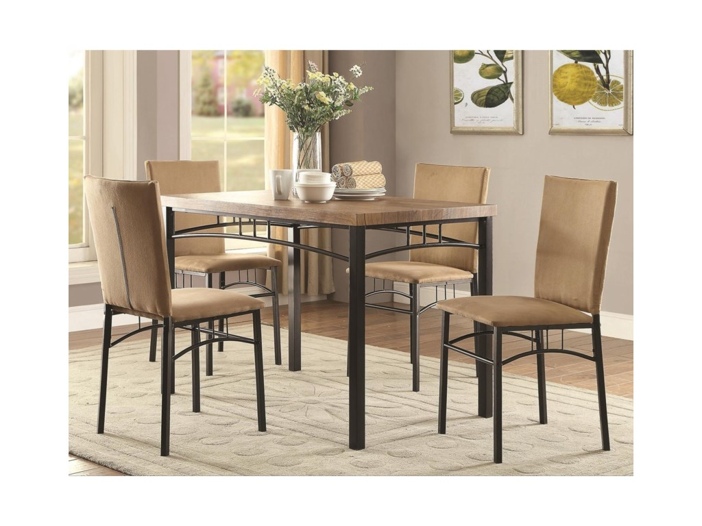 2a6536dfe85e7 Coaster Dinettes Transitional Five Piece Dining Set with Arch Motif ...