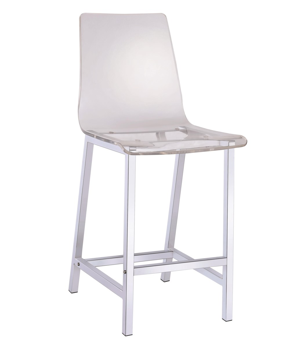 Dining chairs and bar stools acrylic counter height stool with chrome base by coaster