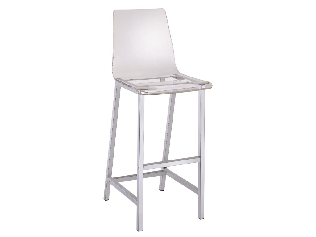 Dining Chairs and Bar Stools Acrylic Bar Height Stool with Chrome Base by  Coaster at Dunk & Bright Furniture