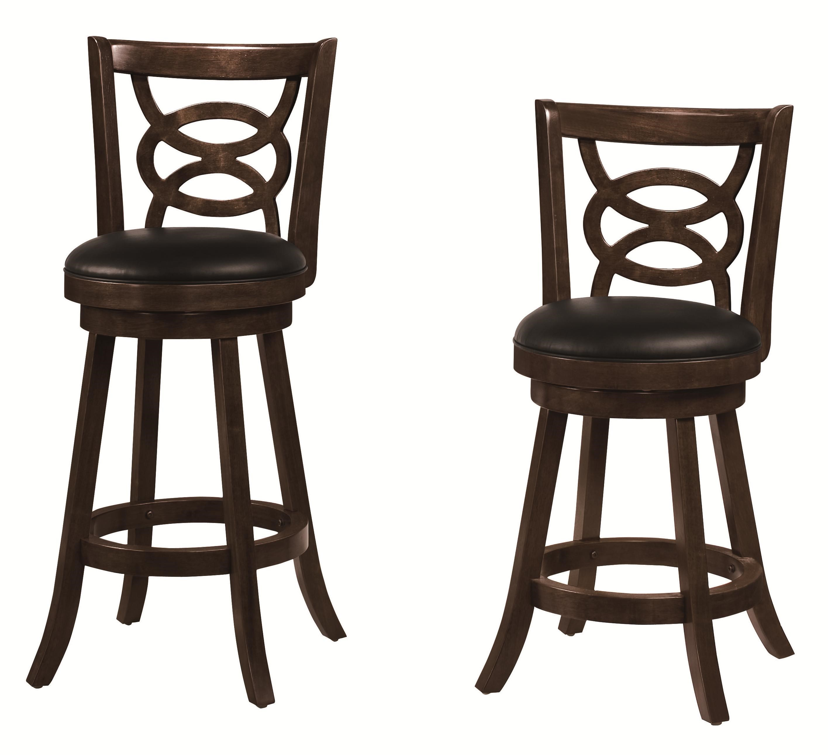 Set of 3 Solid Wood Merlot Swivel Bar Stool Chair by Coaster 101930