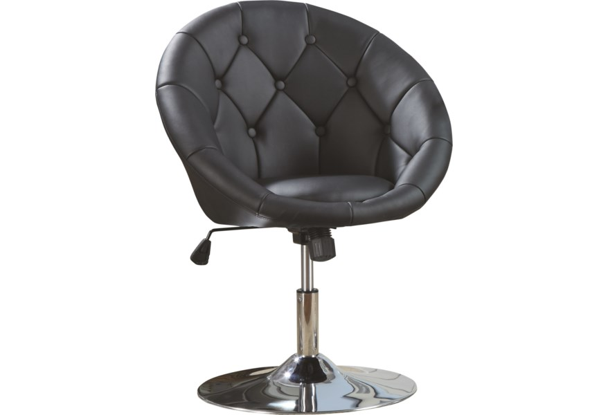 Dining Chairs And Bar Stools Contemporary Round Tufted Black Swivel Chair By Coaster At Standard Furniture