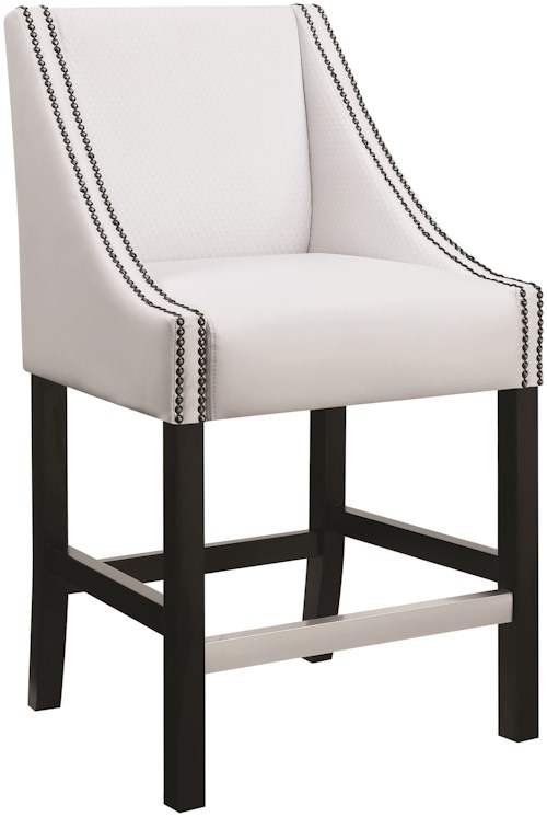 Coaster Dining Chairs and Bar Stools Upholstered Counter Height Stool with Nailhead Trim