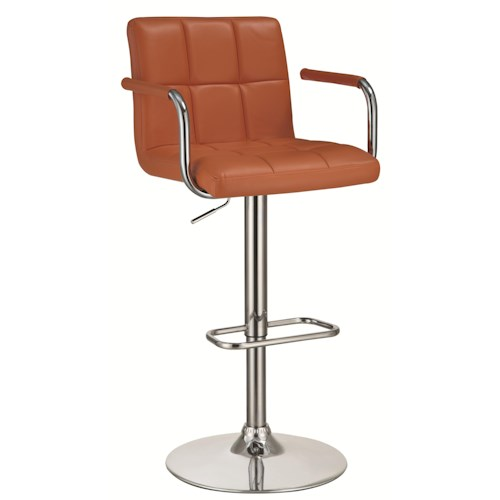 Coaster Dining Chairs And Bar Stools Adjustable Bar Stool With Pumpkin Colored Upholstery