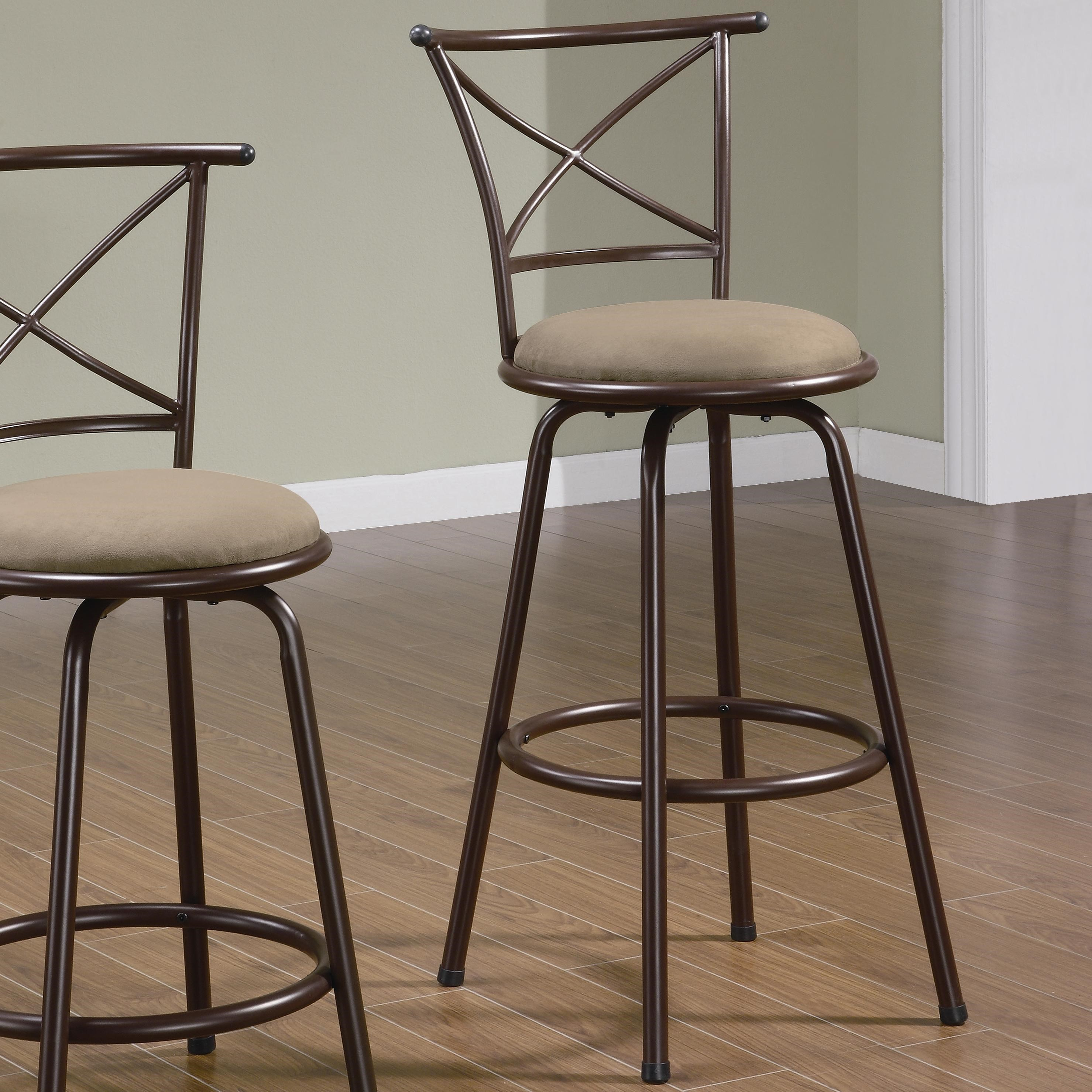 """Metal Counter Height 24/"""" Seat Chair with Brown Upholstery by Coaster 100160"""