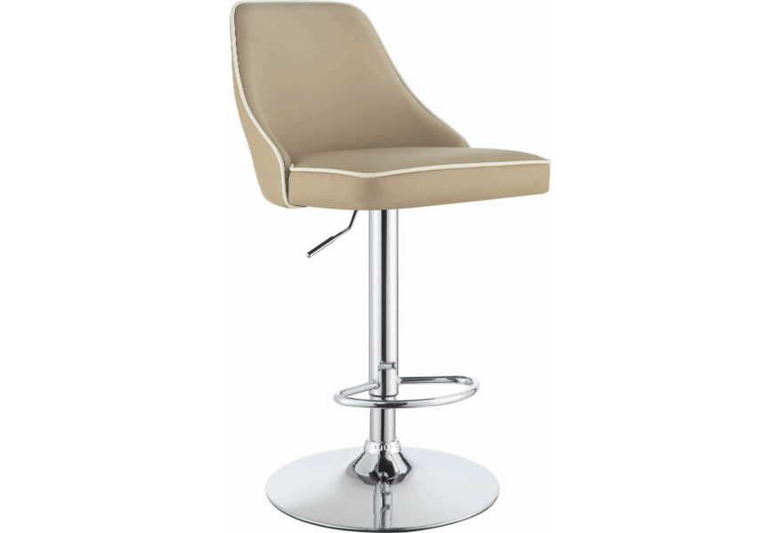 size 40 e76eb 22272 Dining Chairs and Bar Stools Contemporary Adjustable Height Swivel Bar  Stool - Beige by Coaster at Dunk & Bright Furniture