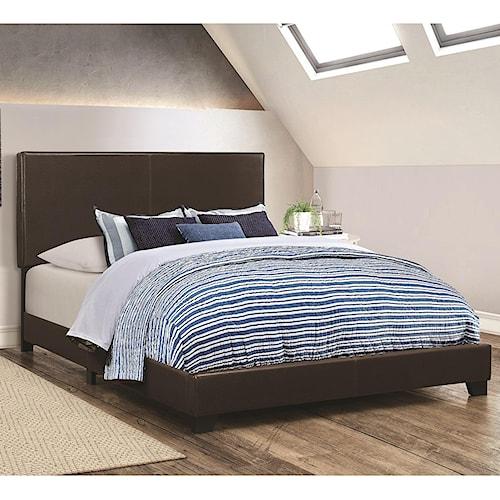Coaster Dorian Brown Upholstered Leatherette Full Bed