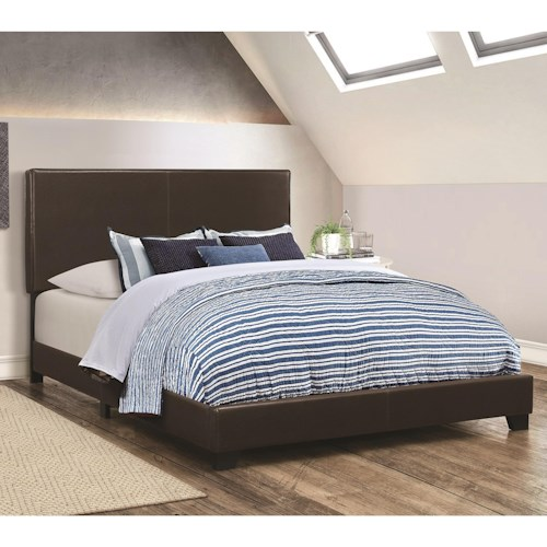 Coaster Dorian Brown Leatherette Upholstered California King Bed