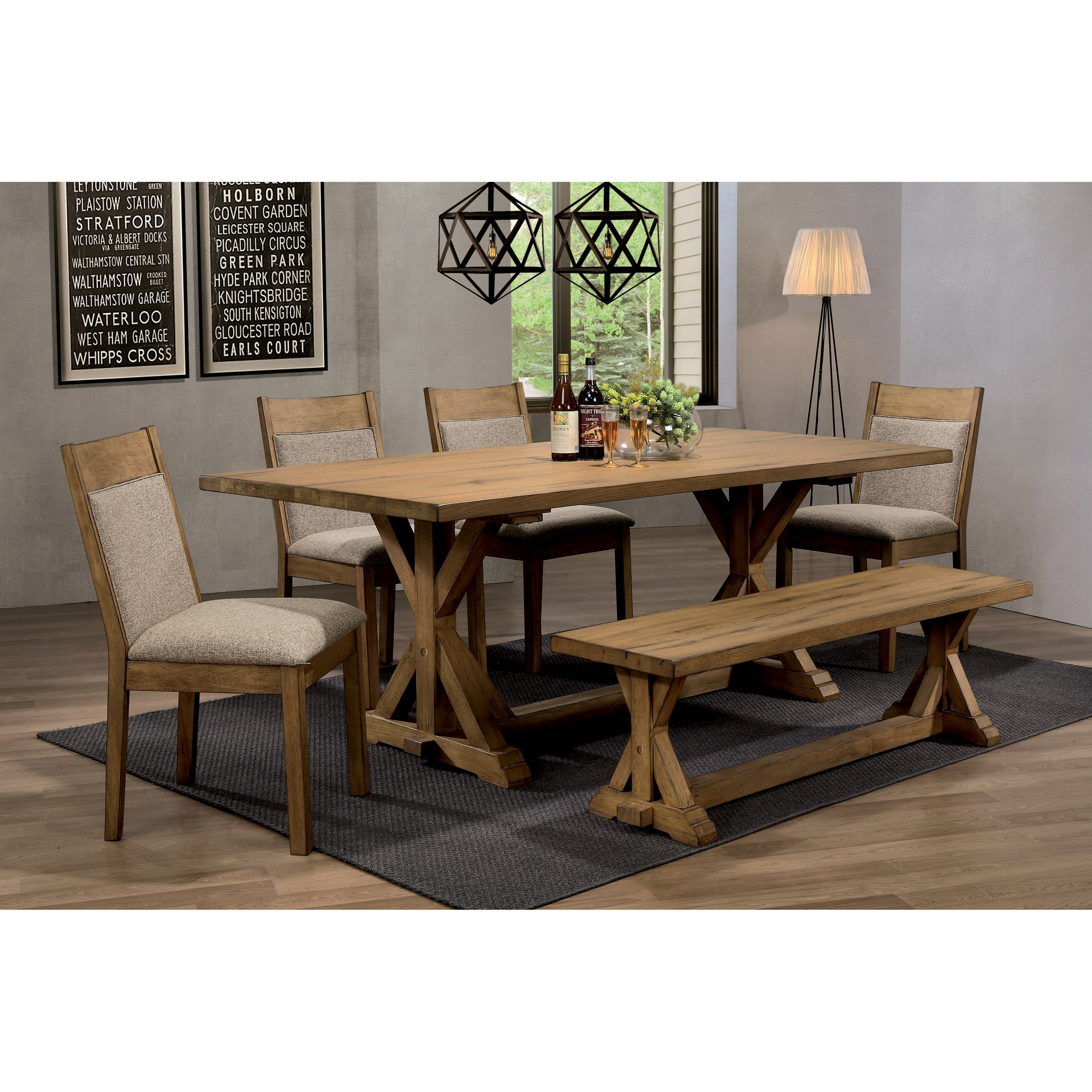 Coaster Douglas Rustic Dining Table Set With Bench