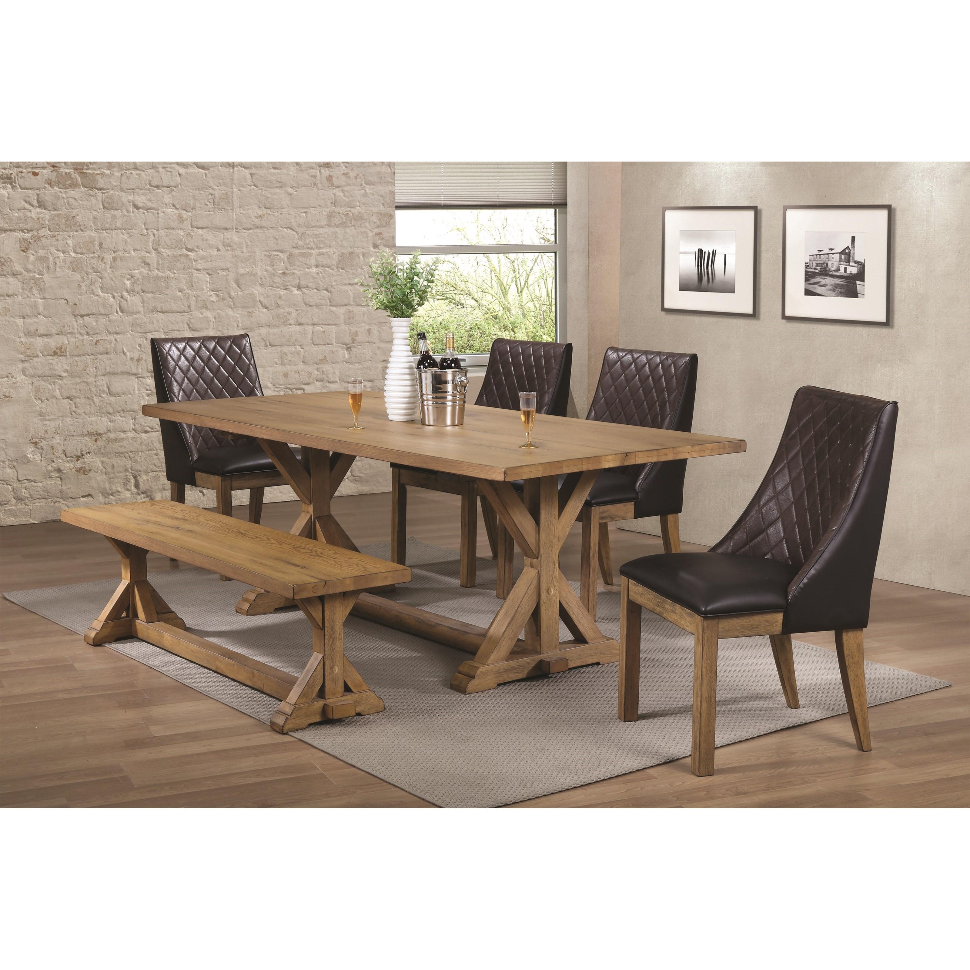 Coaster DouglasDining Table Set With Bench ...
