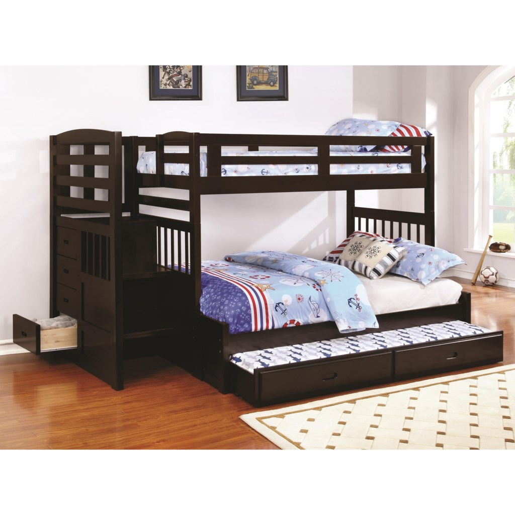 Coaster Dublin Twin Over Full Stairway Bunk Bed With Trundle Dunk