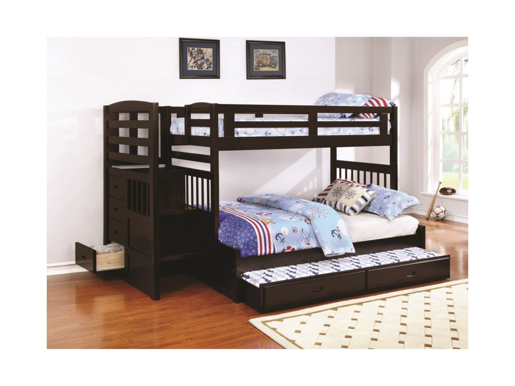 Coaster DublinTwin over Full Bunk Bed with Trundle