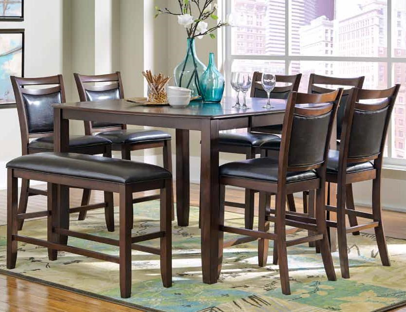 Coaster Dupree Casual 8 Piece Pub Table Set With Bench Furniture