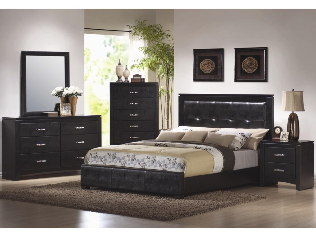 Shown in Room Setting with Dresser, Mirror, Queen Bed, and Nightstand