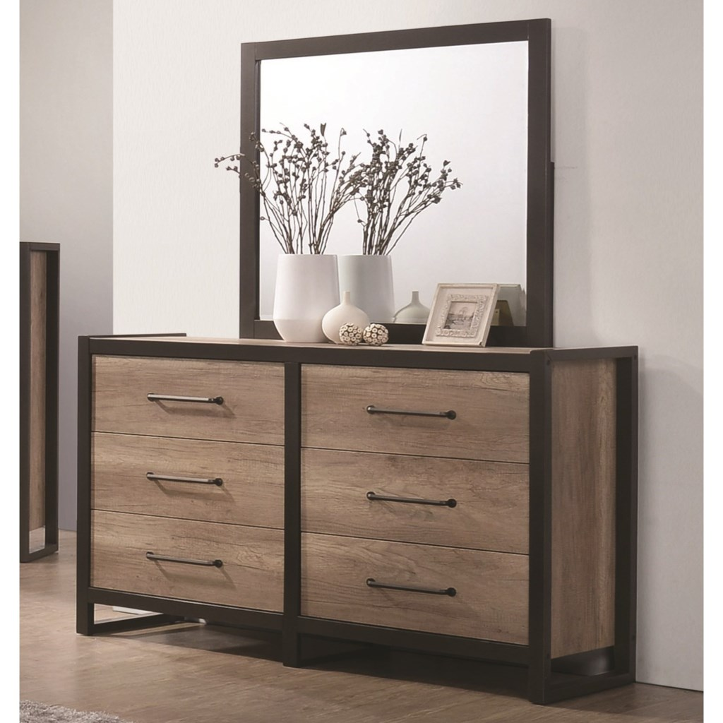 Coaster Edgewater 6 Drawer Dresser With Mirror Beck S Furniture