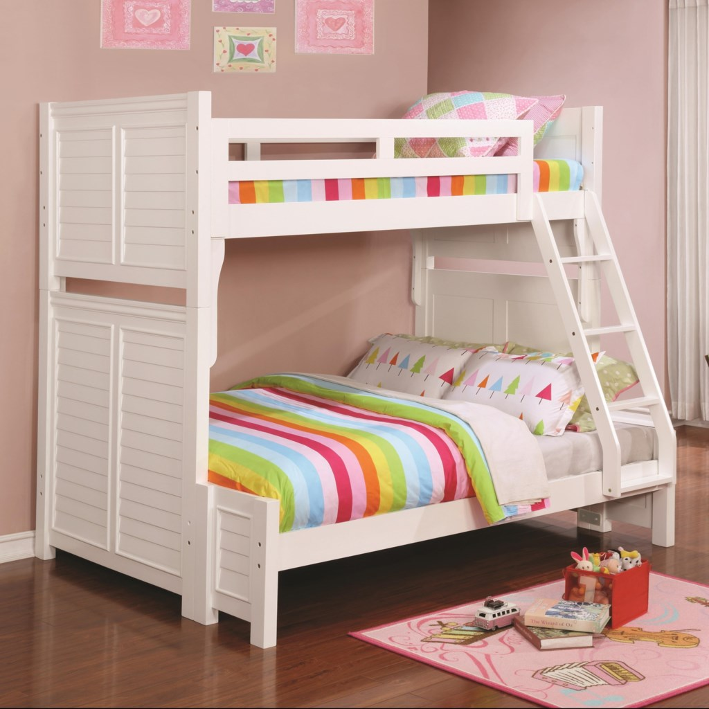 Coaster Edith 461101 Louvered White Twin Over Full Bunk Bed Beck S