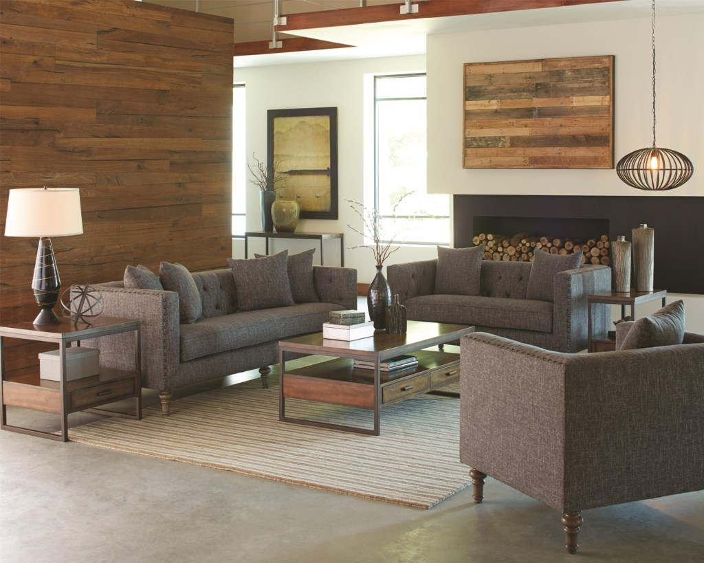 Coaster Ellery Sofa with Traditional Industrial Style Dunk