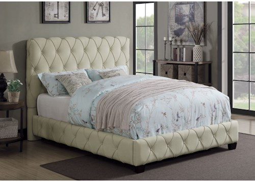 Coaster Elsinore Upholstered Queen Bed With Button Tufting