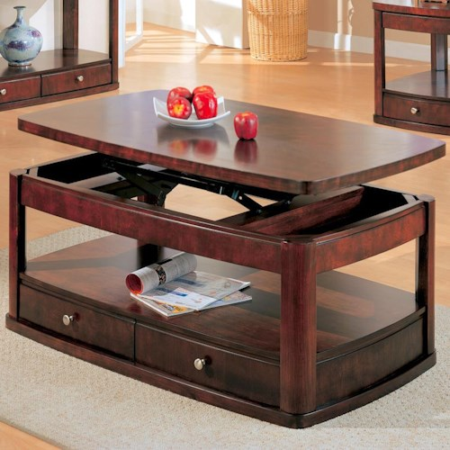 Coaster Evans Contemporary Rectangular Lift Top Cocktail Table with Storage