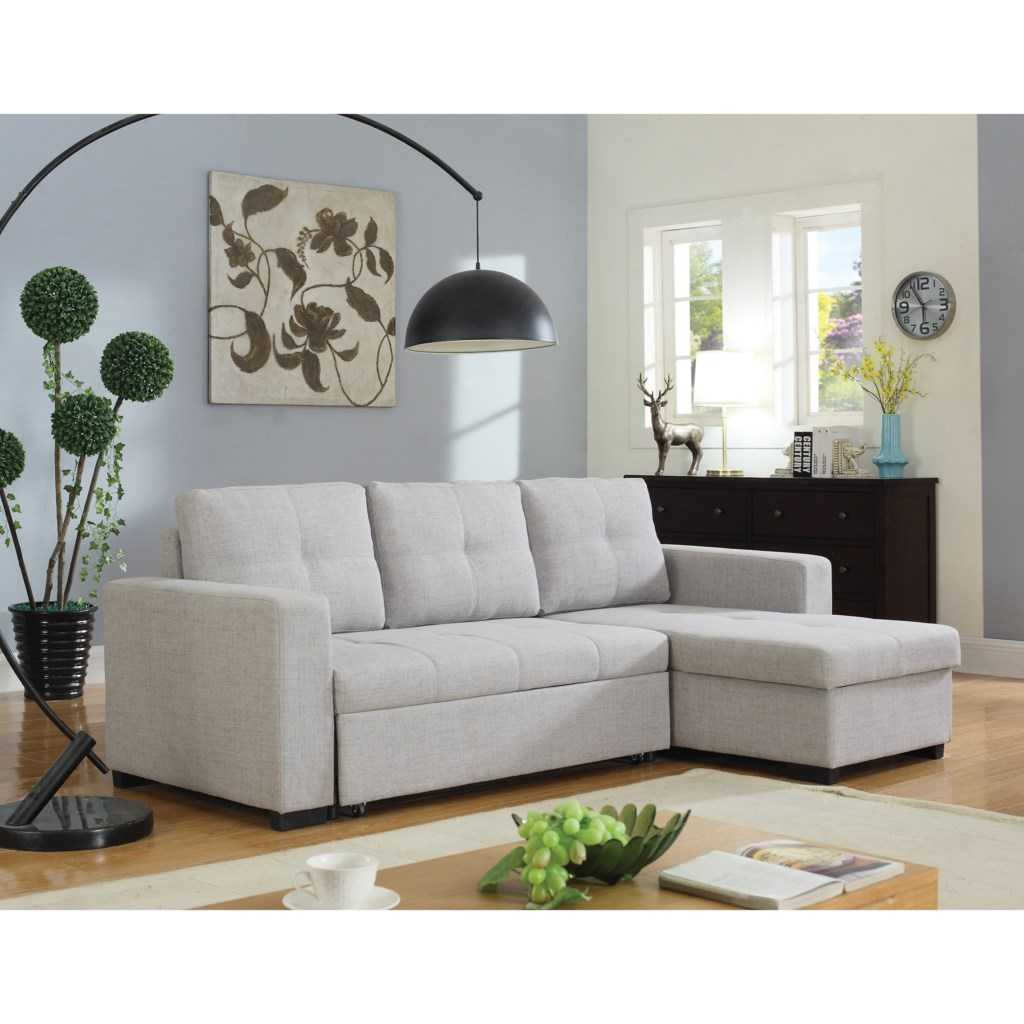 Coaster Everly Beige Sectional Sofa with Sleeper Del Sol
