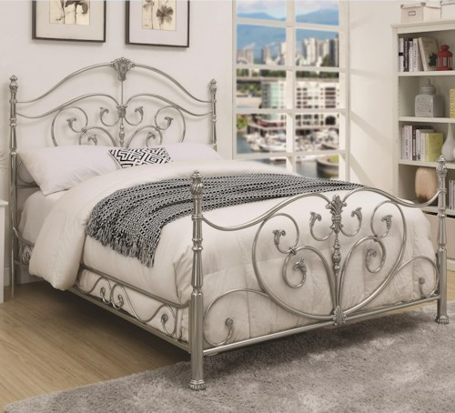 Coaster Evita California King Metal Bed with Elegant Scrollwork