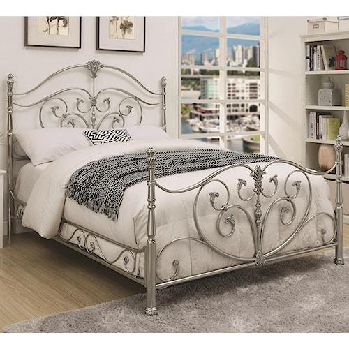 Coaster Evita California King Metal Bed with Elegant Scrollwork