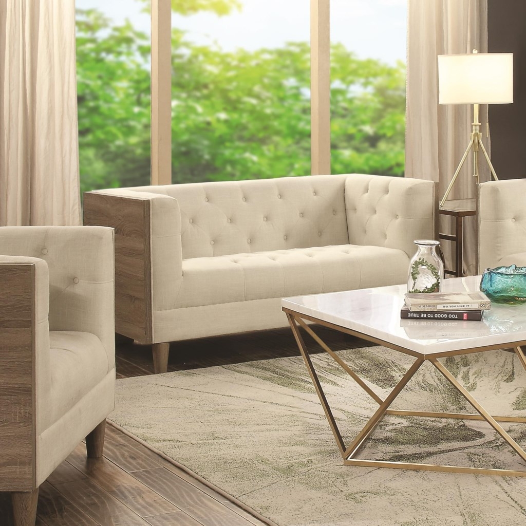 Fairbanks tuxedo loveseat with button tufting and weathered wood by coaster