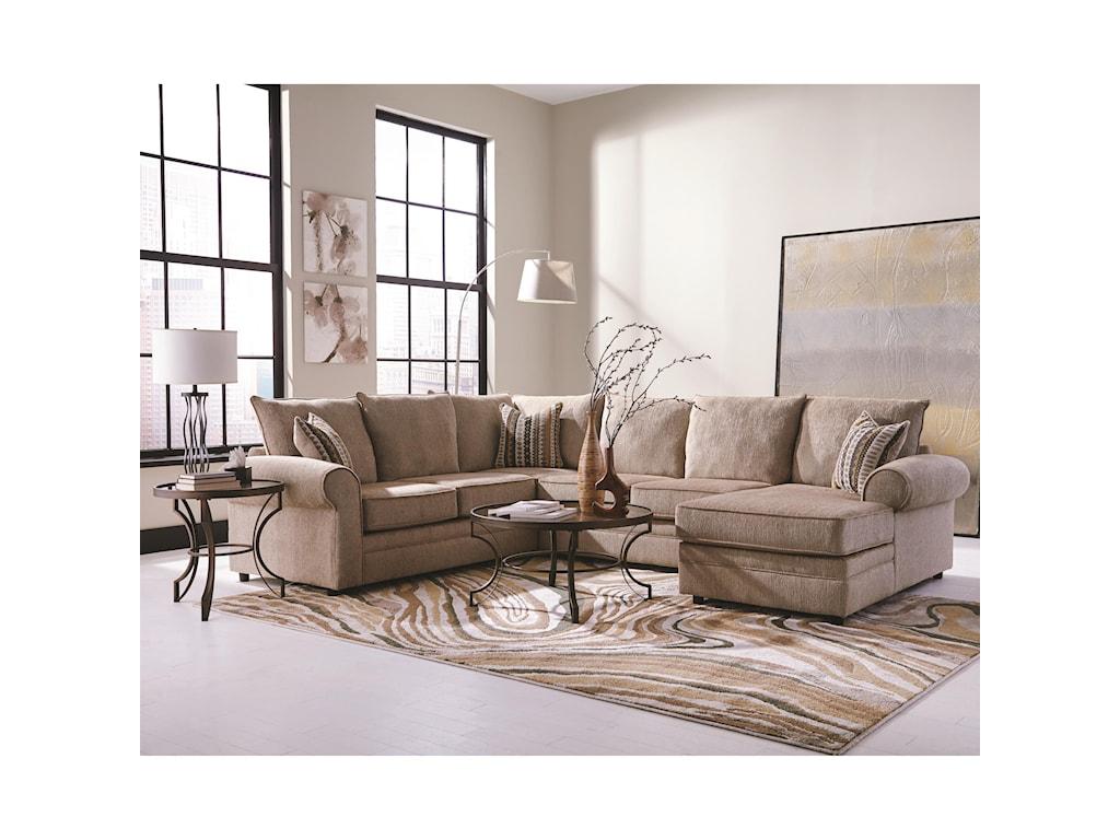 Coaster Fairhaven Cream Colored UShaped Sectional With Chaise - U shaped sectional sofa with chaise
