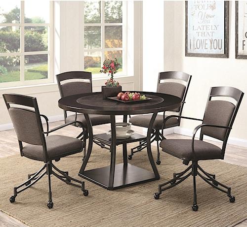 Coaster Ferdinand 5 Piece Round Table & Chair Set
