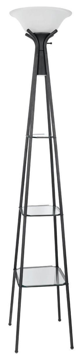 floor lamps torchiere floor lamp with clear glass shelving by coaster