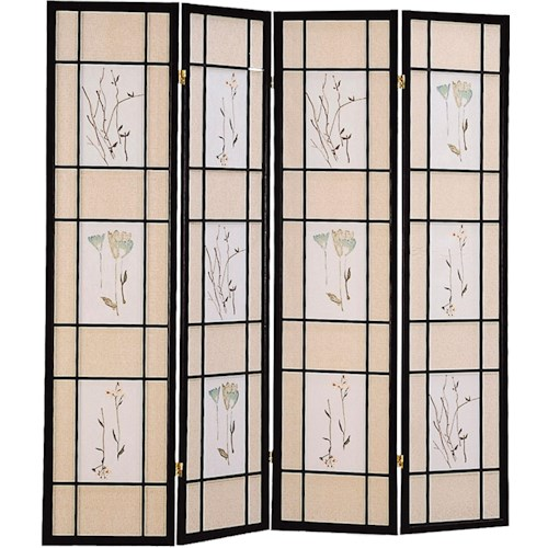 Coaster Folding Screens Four Panel Folding Floor Screen with Floral Motif