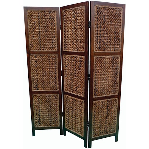 Coaster Folding Screens Three Panel Floor Screen With Woven Banana Leaf Panels