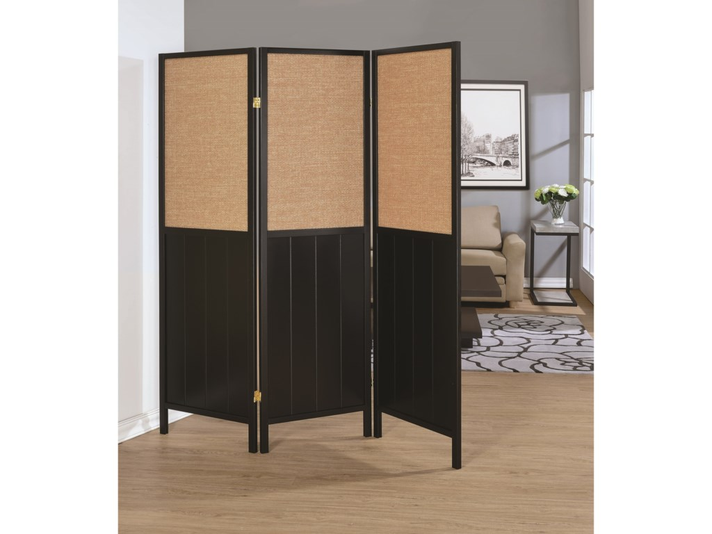 Coaster Folding Screens Three Panel Screen With Woven Panels