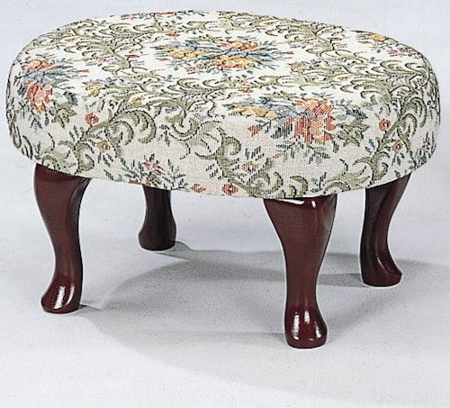 Coaster Foot Stools Cherry Finish Upholstered Foot Stool with Shapely Legs