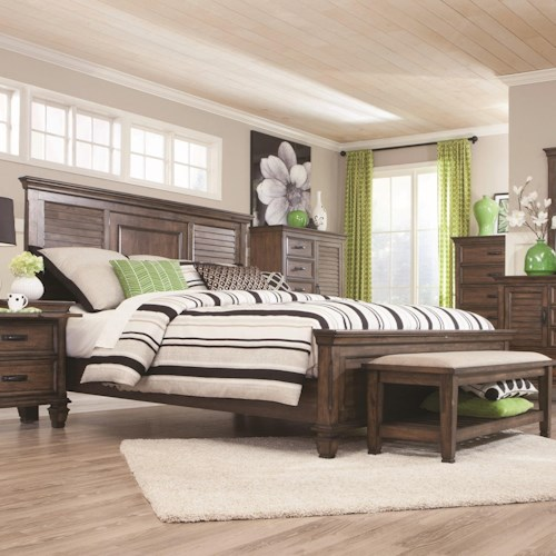 Coaster Franco Queen Bed with Louvered Panel Headboard