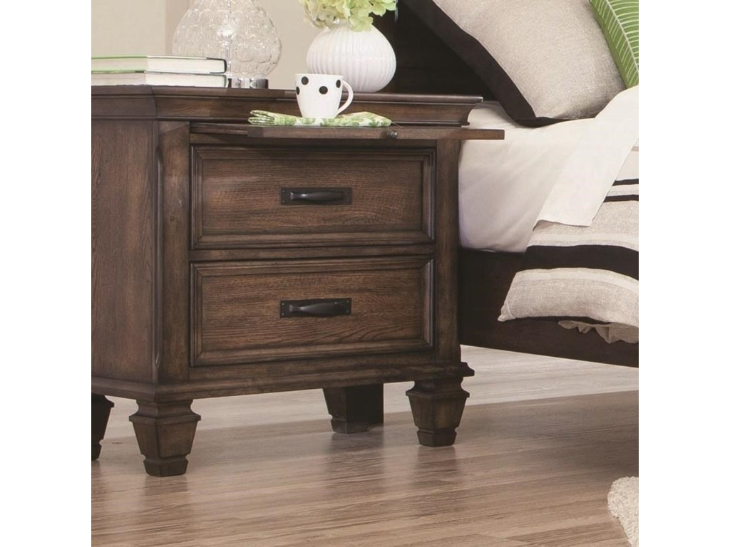 Coaster franco 200972 2 drawer nightstand with pull out tray dunk bright furniture night stands