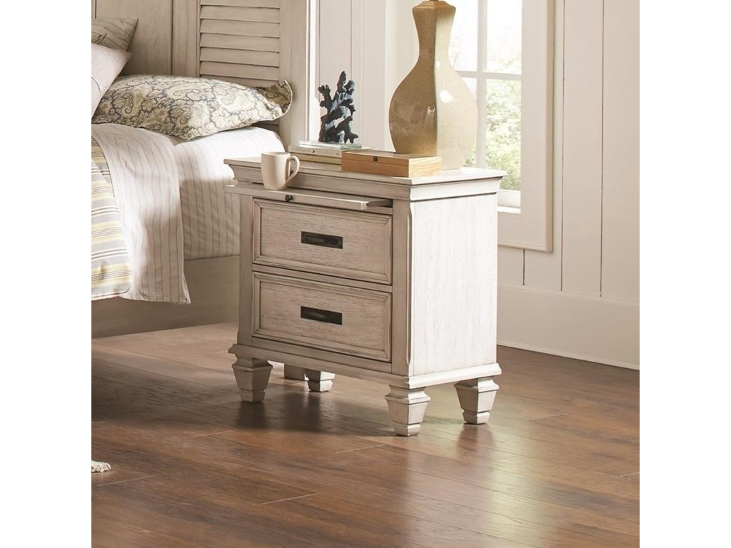 Coaster franco 205332 2 drawer nightstand with pull out tray dunk bright furniture night stands