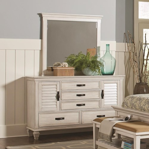 Coaster Franco 5 Drawer Dresser and Mirror Combo with Louvered Doors