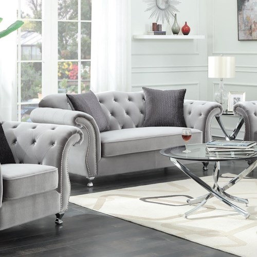 Coaster Frostine Glamorous Loveseat with Tufted Side Frame