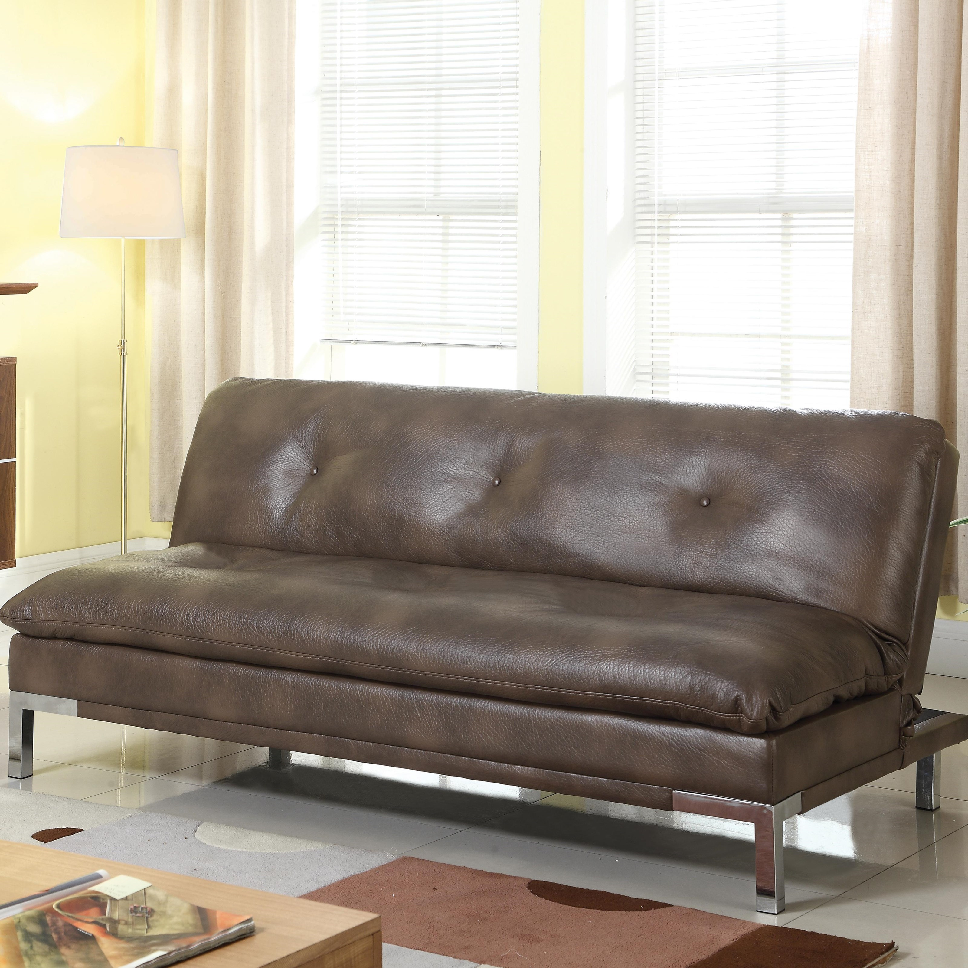 Coaster Futons Sofa Bed With Brown Leatherette