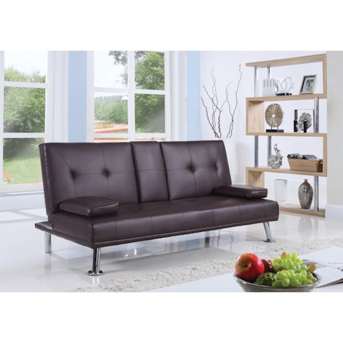 Coaster Futons Leatherette Sofa Bed With Center Console