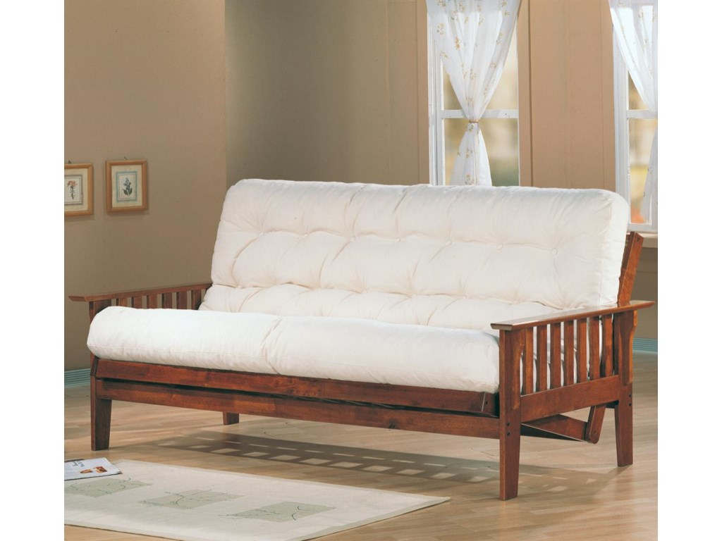 Futons Casual Futon Frame And Mattress Set With Slat Side Detail By Coaster
