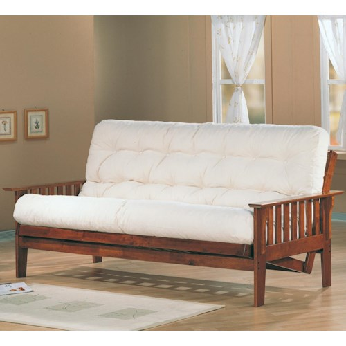 Coaster Futons Casual Futon Frame And Mattress Set With Slat Side Detail