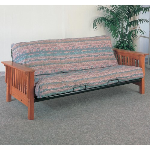 Coaster Futons Casual Futon Frame And Mattress With Mission Slat Side Detail