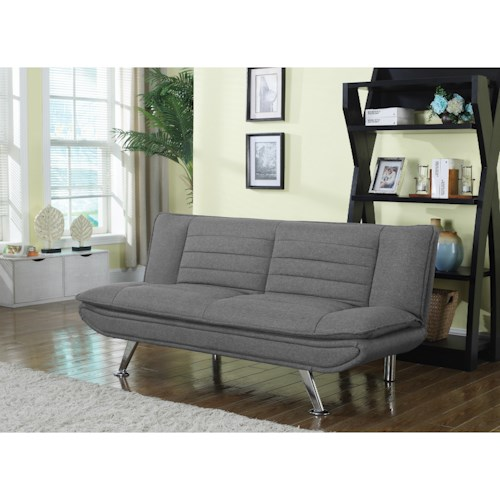 Coaster Futons Grey Sofa Bed With Chrome Legs