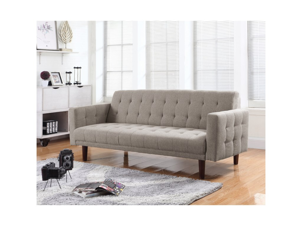 Coaster Futons On Tufted Sofa Bed With Chenille Upholstery Dunk Bright Furniture