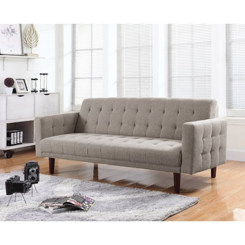 Coaster Futons On Tufted Sofa Bed With Chenille Upholstery